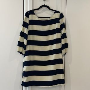 Blue and creams striped long sleeve dress